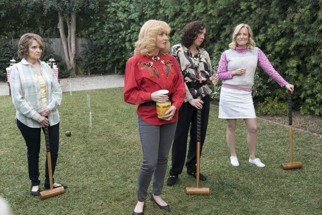"THE GOLDBERGS - ""Colors"" - Barry enlists the JTP to help him break up Beverly's group of friends so Barry can have all the attention but soon realizes he made a major mistake when Beverly gets into a fight with her friends. Meanwhile, Adam's attempts to trick Murray into loving theater backfire, on ""The Goldbergs,"" WEDNESDAY, MARCH 28 (8:00-8:30 p.m. EDT), on The ABC Television Network. (ABC/Byron Cohen) WENDI MCLENDON-COVEY, STEPHANIE COURTNEY, JENNIFER IRWIN"