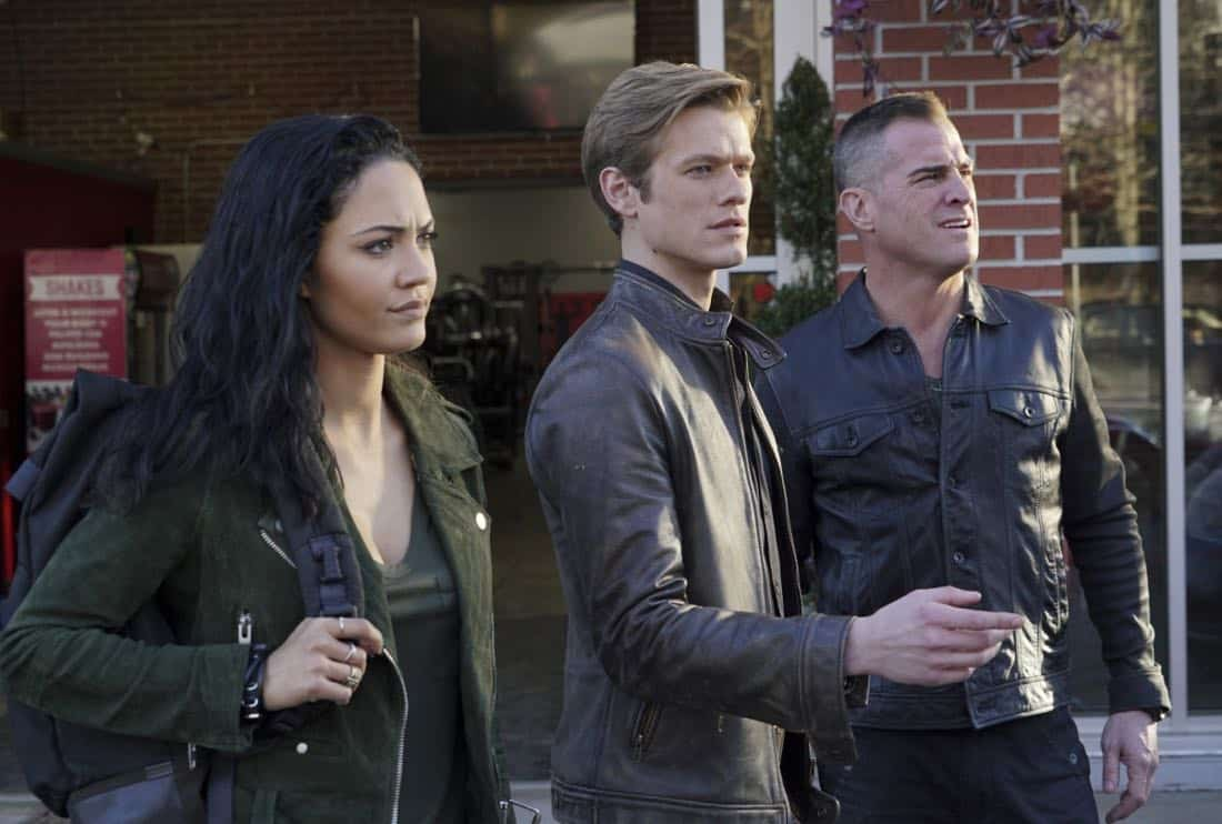 """Riley + Airplane"" -- When Matty and the team search for a former government tech who stole classified intel and has been evading capture, they reunite with the Coltons, the family of bounty hunters, who are pursuing the same man for different reasons, on MACGYVER, Friday, March 30 (8:00-9:00 PM, ET/PT) on the CBS Television Network. Pictured: Tristin Mays, George Eads, Lucas Till. Photo: Annette Brown/CBS ©2018 CBS Broadcasting, Inc. All Rights Reserved"