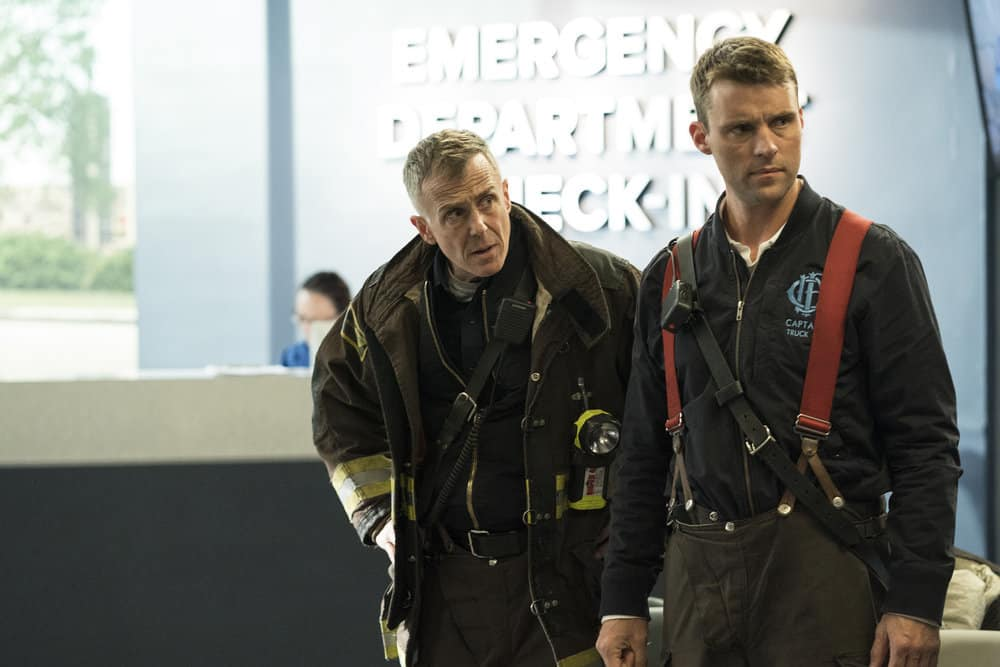 "CHICAGO FIRE -- ""The Chance To Forgive"" Episode 615 -- Pictured: (l-r) David Eigenberg as Christopher Herrmann, Jesse Spencer as Matthew Casey -- (Photo by: Elizabeth Morris/NBC)"