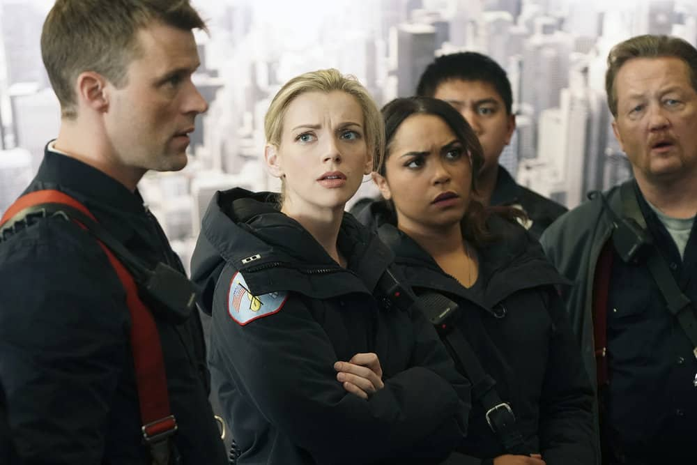 "CHICAGO FIRE -- ""The Chance To Forgive"" Episode 615 -- Pictured: (l-r) Jesse Spencer as Matthew Casey, Kara Killmer as Sylvie Brett, Monica Raymund as Gabriela Dawson, Christian Stolte as Mouch -- (Photo by: Elizabeth Morris/NBC)"