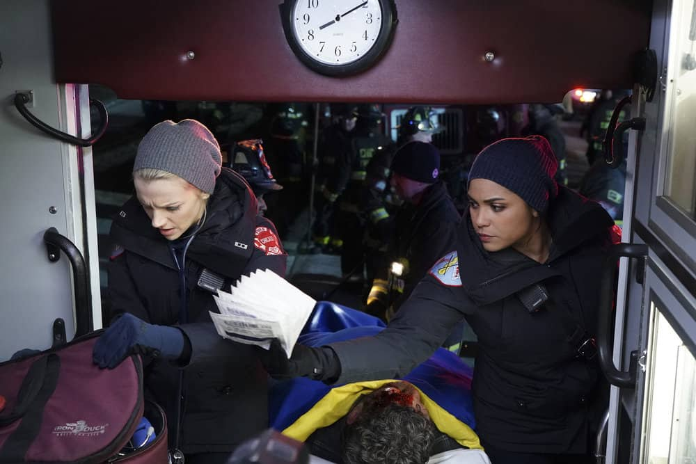 "CHICAGO FIRE -- ""Looking For A Lifeline"" Episode 614 -- Pictured: (l-r) Kara Killmer as Sylvie Brett, Monica Raymund as Gabriela Dawson -- (Photo by: Elizabeth Morris/NBC)"