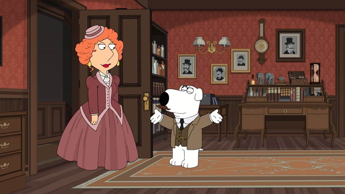 "FAMILY GUY: In a special Dickensian-themed episode, Stewie and Brian are detectives who embark on solving a string of mysterious murders in the ""V is for Mystery"" episode of FAMILY GUY airing Sunday, Mar. 25 (9:00-9:30 PM ET/PT) on FOX. FAMILY GUY ™ and © 2018 TCFFC ALL RIGHTS RESERVED. CR: FOX"