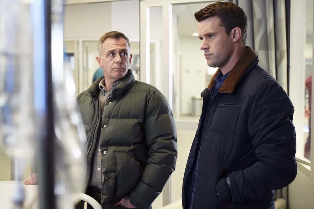 "CHICAGO FIRE -- ""The One That Matters Most"" Episode 616 -- Pictured: (l-r) David Eigenberg as Christopher Herrmann, Jesse Spencer as Matthew Casey -- (Photo by: Elizabeth Morris/NBC)"