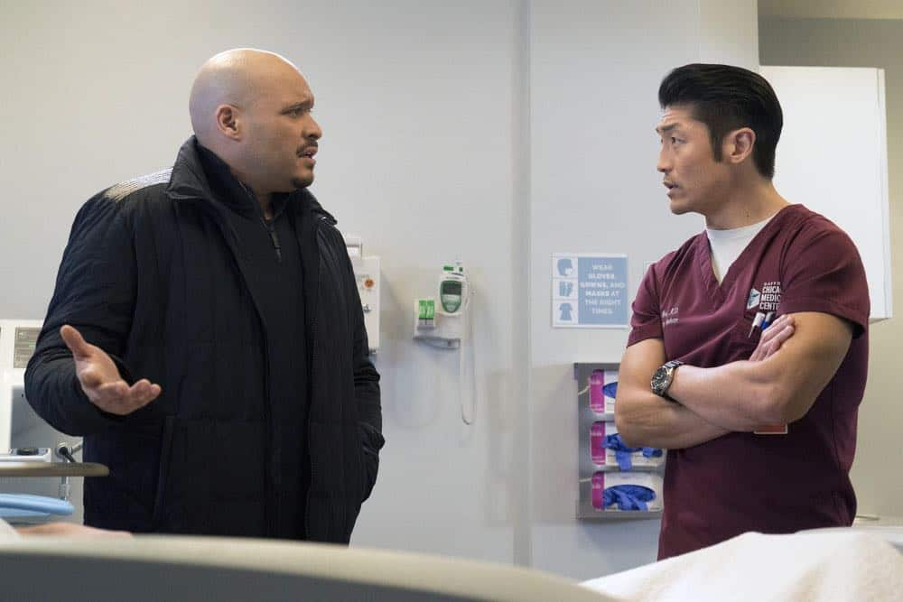 "CHICAGO FIRE -- ""The One That Matters Most"" Episode 616 -- Pictured: (l-r) Joe Minoso as Joe Cruz, Brian Tee as Ethan Choi -- (Photo by: Elizabeth Morris/NBC)"