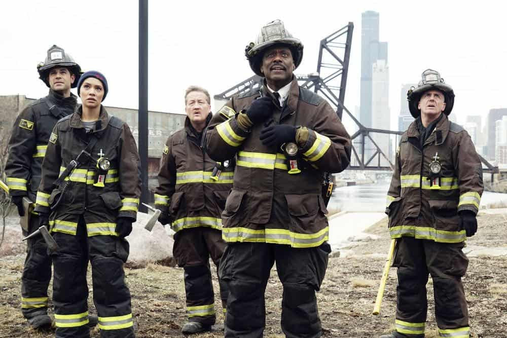 "CHICAGO FIRE -- ""The One That Matters Most"" Episode 616 -- Pictured: (l-r) Daniel Di Tomasso as Zach Torbett, Miranda Rae Mayo as Stella Kidd, Christian Stolte as Mouch, Eamonn Walker as Wallace Boden, David Eigenberg as Christopher Herrmann -- (Photo by: Elizabeth Morris/NBC)"