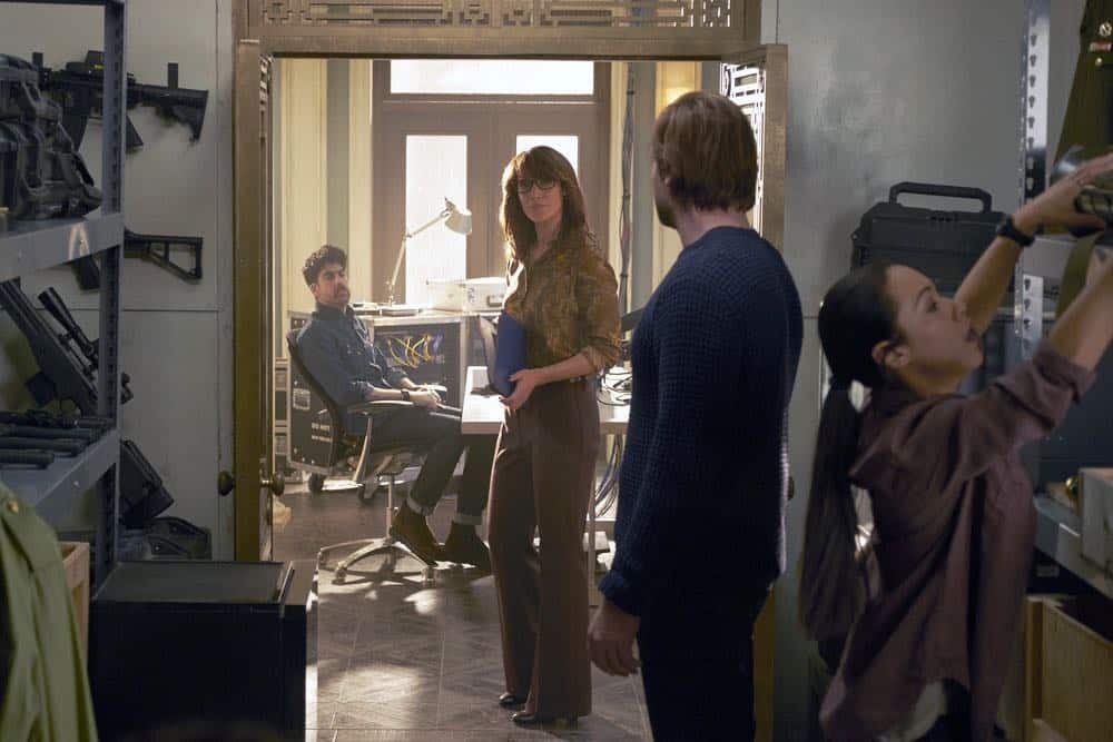 "TAKEN -- ""Verum Nocet"" Episode 209 -- Pictured: (l-r) Adam Goldberg as Kilroy, Jennifer Beals as Christina Hart, Clive Standen as Bryan Mills, Jessica Camacho as Santana -- (Photo by: Christos Kalohoridis/NBC)"