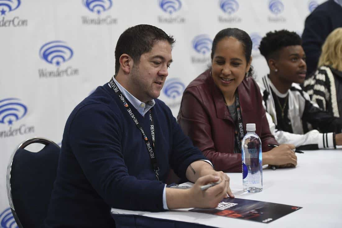 "MARVEL'S CLOAK & DAGGER - The executive producers and cast of Freeform's highly-anticipated new original series ""Marvel's Cloak & Dagger"" attended WonderCon to promote the June 7th premiere. (Freeform/Aaron Poole) JOE POKASKI (EXECUTIVE PRODUCER), GINA PRINCE-BYTHEWOOD (DIRECTOR), AUBREY JOSEPH"