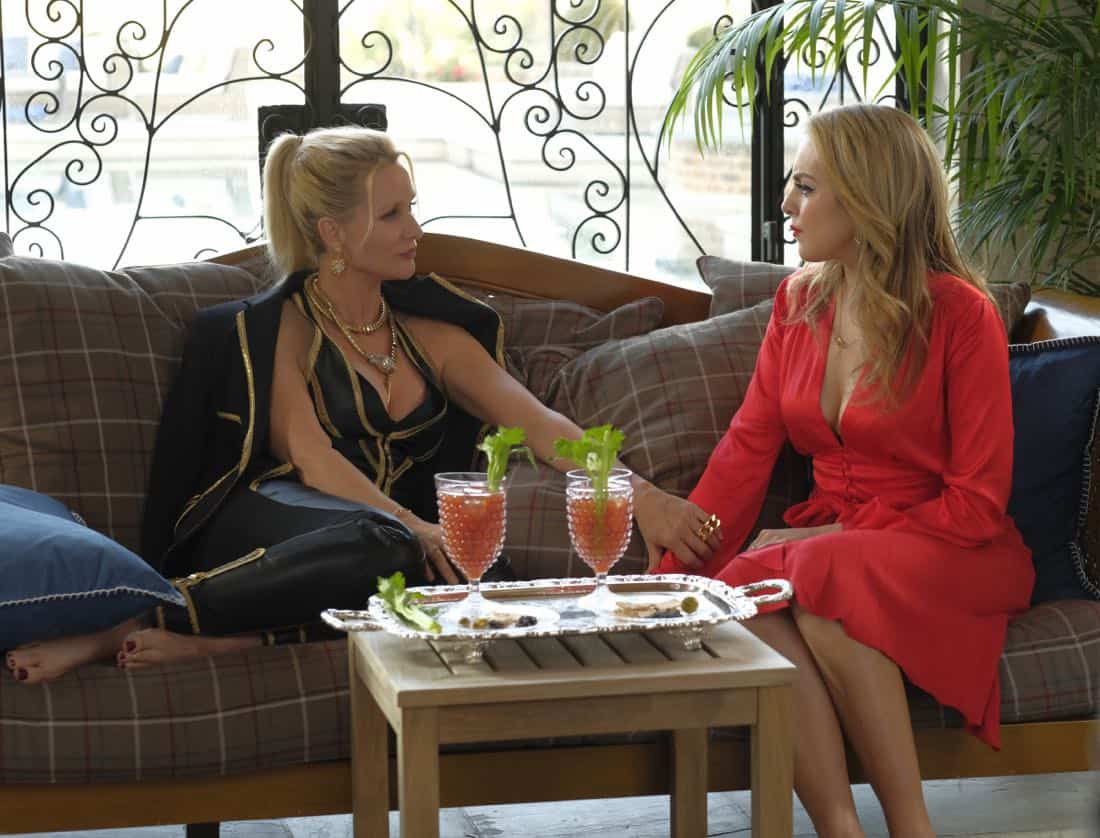 "Dynasty -- ""Enter Alexis""-- Image Number: DYN117c_123b2.jpg -- Pictured (L-R): Nicollette Sheridan as Alexis and Elizabeth Gillies as Fallon -- Photo: Mark Hill/The CW -- © 2018 The CW Network, LLC. All Rights Reserved"