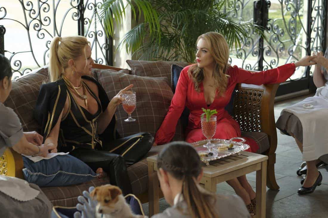 """Dynasty -- """"Enter Alexis""""-- Image Number: DYN117c_123b2.jpg -- Pictured (L-R): Nicollette Sheridan as Alexis and Elizabeth Gillies as Fallon -- Photo: Mark Hill/The CW -- © 2018 The CW Network, LLC. All Rights Reserved"""