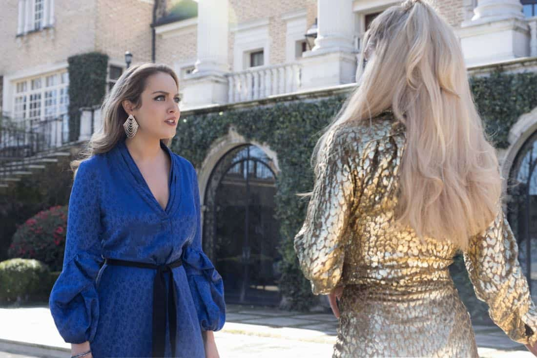 """Dynasty -- """"Enter Alexis""""-- Image Number: DYN117b_0084b.jpg -- Pictured (L-R): Elizabeth Gillies as Fallon and Nicollette Sheridan as Alexis -- Photo: Mark Hill/The CW -- © 2018 The CW Network, LLC. All Rights Reserved"""