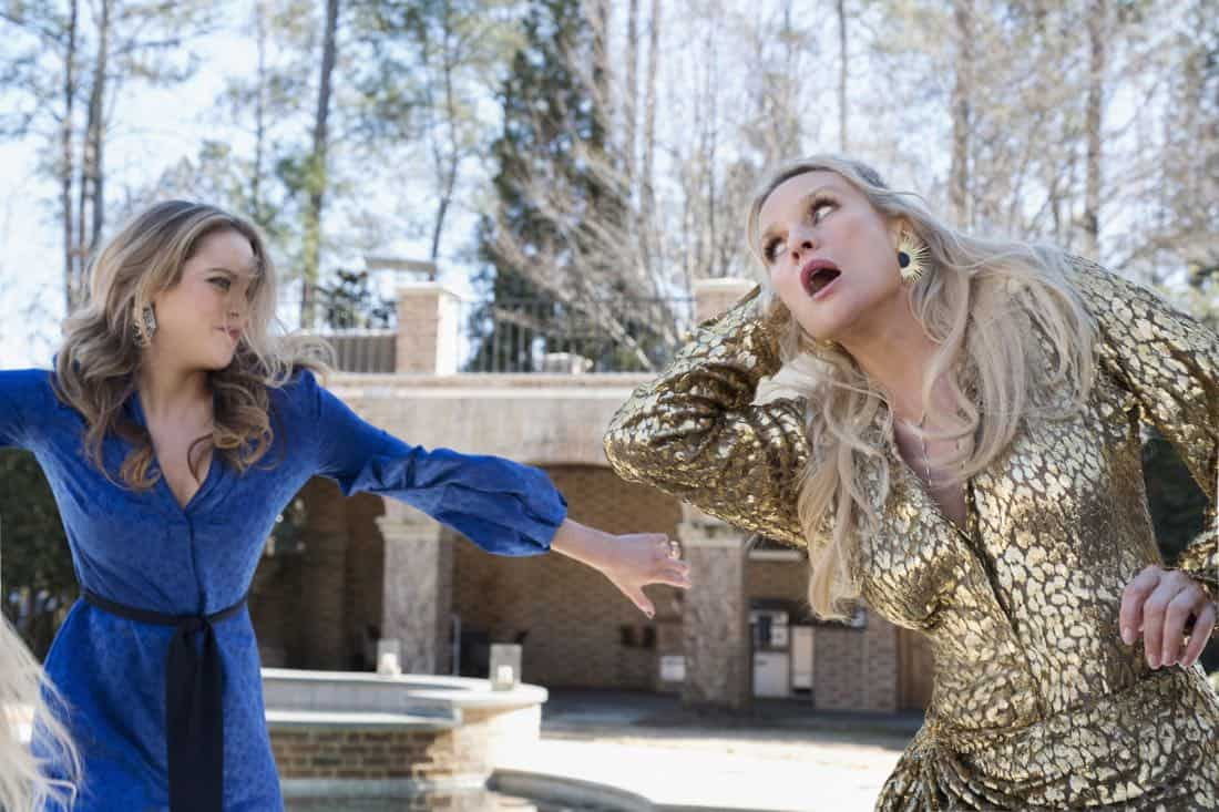 """Dynasty -- """"Enter Alexis""""-- Image Number: DYN117b_0247b4.jpg -- Pictured (L-R): Elizabeth Gillies as Fallon and Nicollette Sheridan as Alexis -- Photo: Mark Hill/The CW -- © 2018 The CW Network, LLC. All Rights Reserved"""