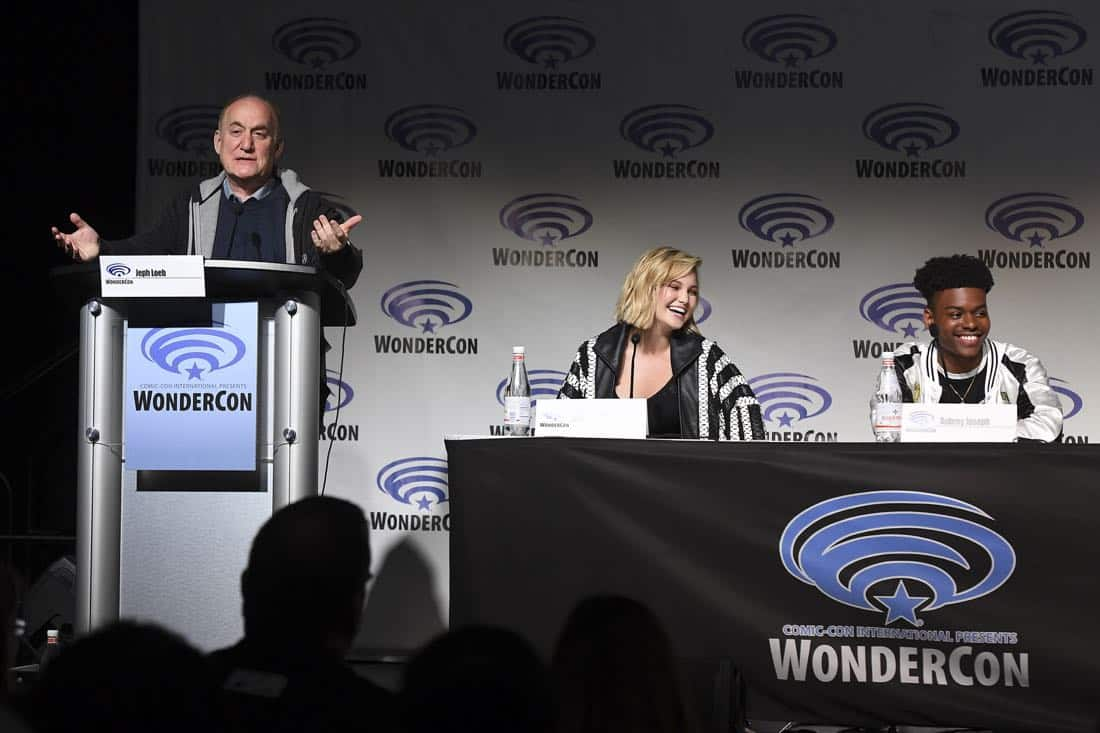 "MARVEL'S CLOAK & DAGGER - The executive producers and cast of Freeform's highly-anticipated new original series ""Marvel's Cloak & Dagger"" attended WonderCon to promote the June 7th premiere. (Freeform/Aaron Poole) JEPH LOEB (EXECUTIVE PRODUCER/HEAD OF MARVEL TELEVISION), OLIVIA HOLT, AUBREY JOSEPH"