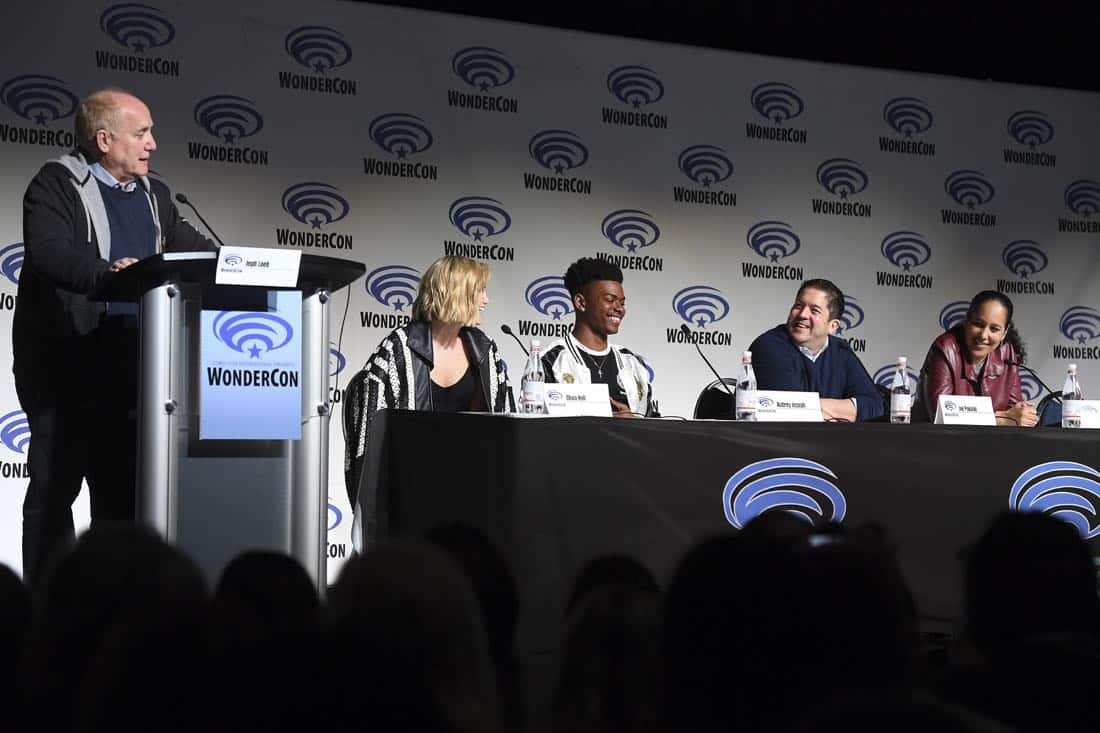 "MARVEL'S CLOAK & DAGGER - The executive producers and cast of Freeform's highly-anticipated new original series ""Marvel's Cloak & Dagger"" attended WonderCon to promote the June 7th premiere. (Freeform/Aaron Poole) JEPH LOEB (EXECUTIVE PRODUCER/HEAD OF MARVEL TELEVISION), OLIVIA HOLT, AUBREY JOSEPH, JOE POKASKI (EXECUTIVE PRODUCER), GINA PRINCE-BYTHEWOOD (DIRECTOR)"