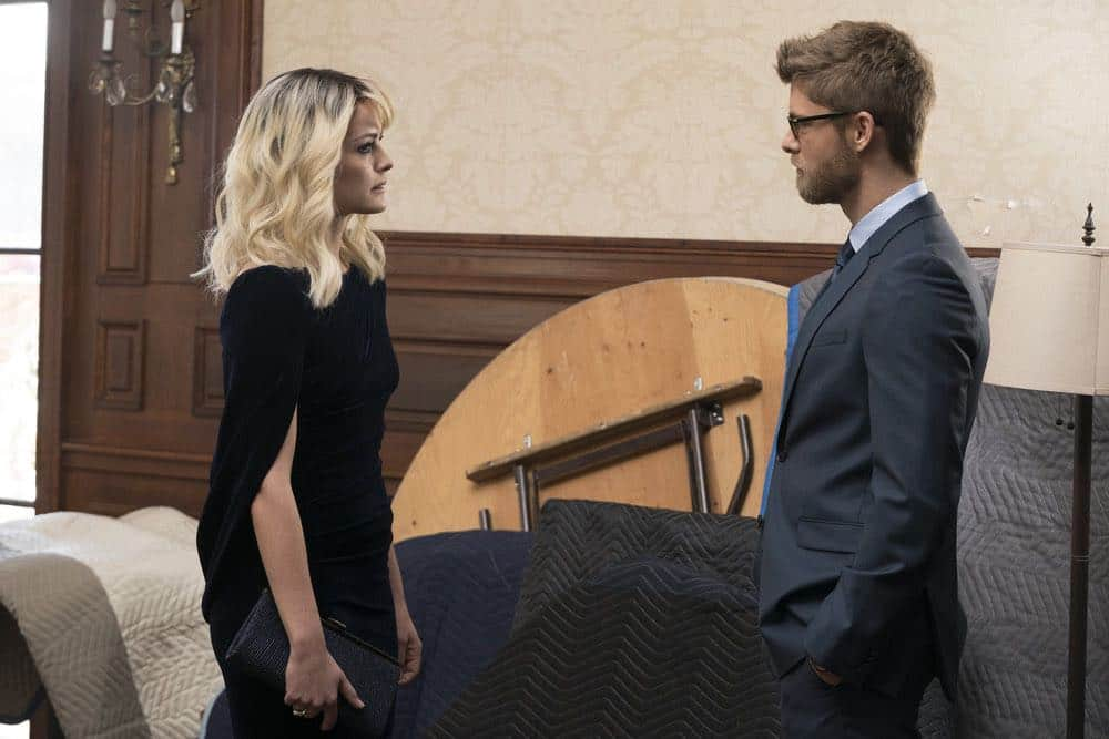 "BLINDSPOT -- ""Mum's The Word"" Episode 317 -- Pictured: (l-r) Jaimie Alexander as Jane Doe, Luke Mitchell as Roman -- (Photo by: Virginia Sherwood/NBC)"