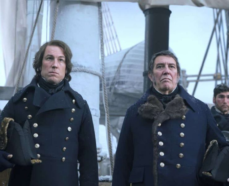 Tobias Menzies as James Fitzjames, Ciarán Hinds as John Franklin- The Terror _ Season 1, Episode 1 - Photo Credit: Aidan Monaghan/AMC