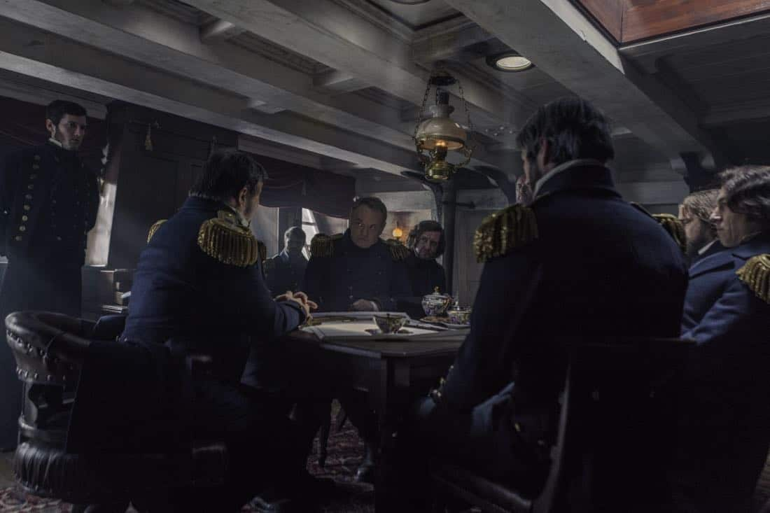 Jared Harris as Francis Crozier, Tobias Menzies as James Fitzjames, Ciarán Hinds as John Franklin - The Terror _ Season 1, Episode 1 - Photo Credit: Aidan Monaghan/AMC