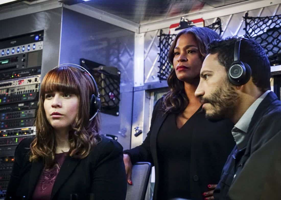 """The Monster"" -  Pictured: RenŽe Felice Smith (Intelligence Analyst Nell Jones) and Nia Long (Executive Assistant Director Shay Mosley). While investigating a missing personÕs case, the team uncovers a killer who puts on shows for high-paying voyeurs.  Also, Mosley assigns Callen as her partner on a joint ATF mission to apprehend someone from her past, on NCIS: LOS ANGELES, Sunday, April 1 (9:00-10:00 PM, ET/PT) on the CBS Television Network. Photo: Monty Brinton/CBS ©2018 CBS Broadcasting, Inc. All Rights Reserved."