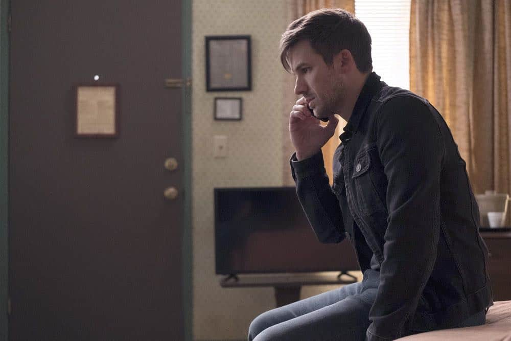 """TIMELESS -- """"The Salem Witch Hunt"""" Episode 204 -- Pictured: Matt Lanter as Wyatt Logan -- (Photo by: Colleen Hayes/NBC)"""