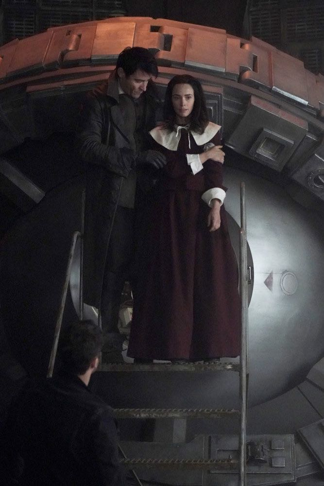 "TIMELESS -- ""The Salem Witch Hunt"" Episode 204 -- Pictured: (l-r) Goran Visnjic as Garcia Flynn, Abigail Spencer as Lucy Preston -- (Photo by: Chris Haston/NBC)"