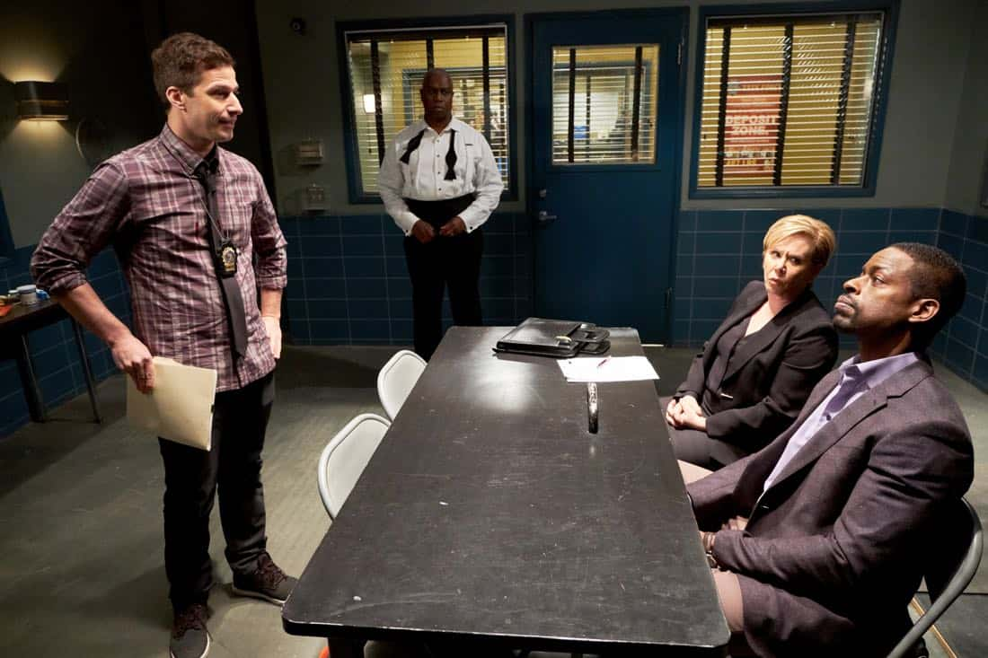 "BROOKLYN NINE-NINE: (L-R) Andy Samberg, Andre Braugher, guest star XXX and guest star Sterling K. Brown in the ""The Box"" episode of BROOKLYN NINE-NINE airing Sunday, April 1 (8:30-9:00 PM ET/PT) on FOX. CR: FOX"