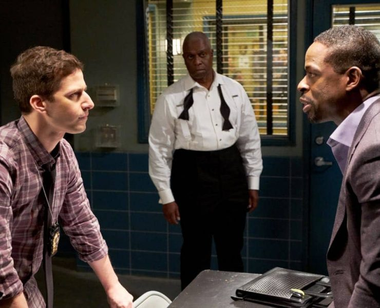 """BROOKLYN NINE-NINE: (L-R) Andy Samberg, Andre Braugher and guest star Sterling K. Brown in the """"The Box"""" episode of BROOKLYN NINE-NINE airing Sunday, April 1 (8:30-9:00 PM ET/PT) on FOX. CR: FOX"""