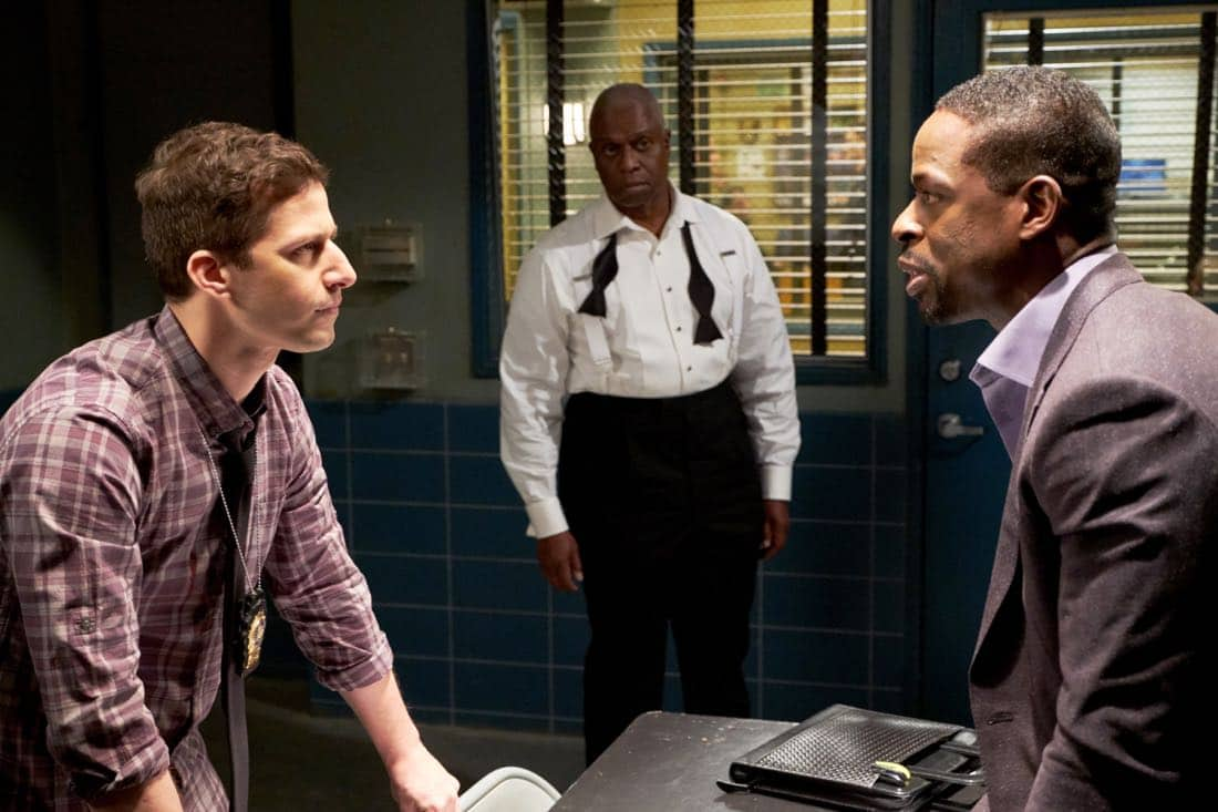 "BROOKLYN NINE-NINE: (L-R) Andy Samberg, Andre Braugher and guest star Sterling K. Brown in the ""The Box"" episode of BROOKLYN NINE-NINE airing Sunday, April 1 (8:30-9:00 PM ET/PT) on FOX. CR: FOX"
