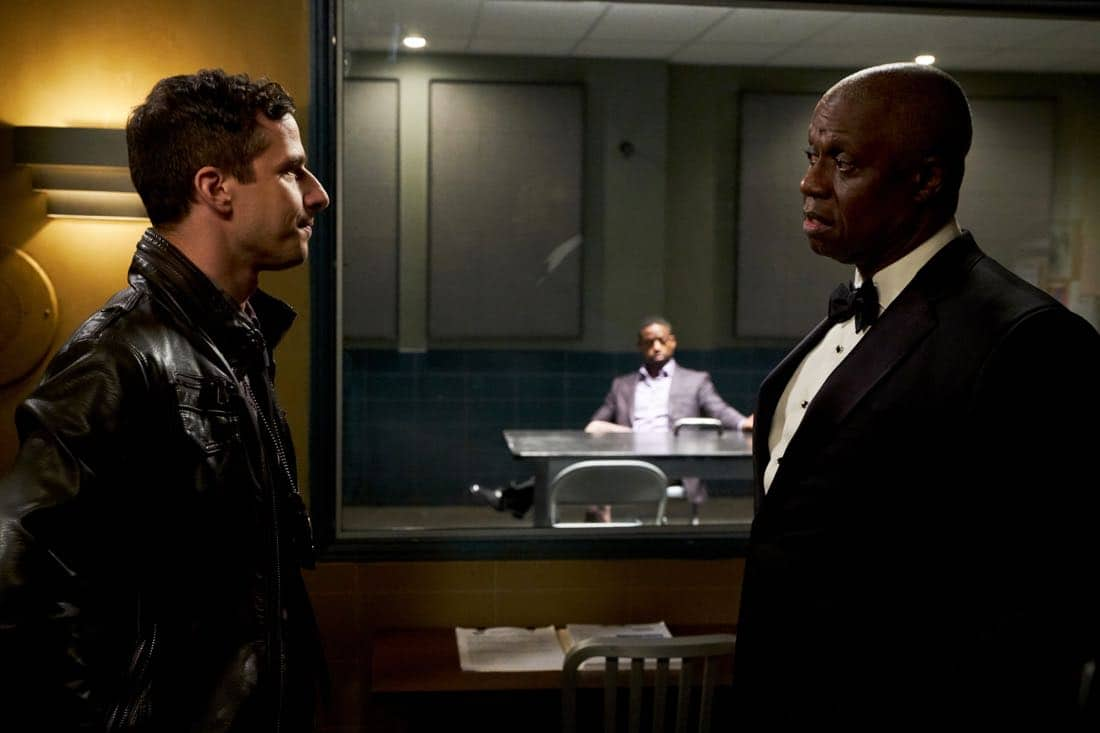 "BROOKLYN NINE-NINE: (L-R) Andy Samberg and Andre Braugher in the ""The Box"" episode of BROOKLYN NINE-NINE airing Sunday, April 1 (8:30-9:00 PM ET/PT) on FOX. CR: FOX"