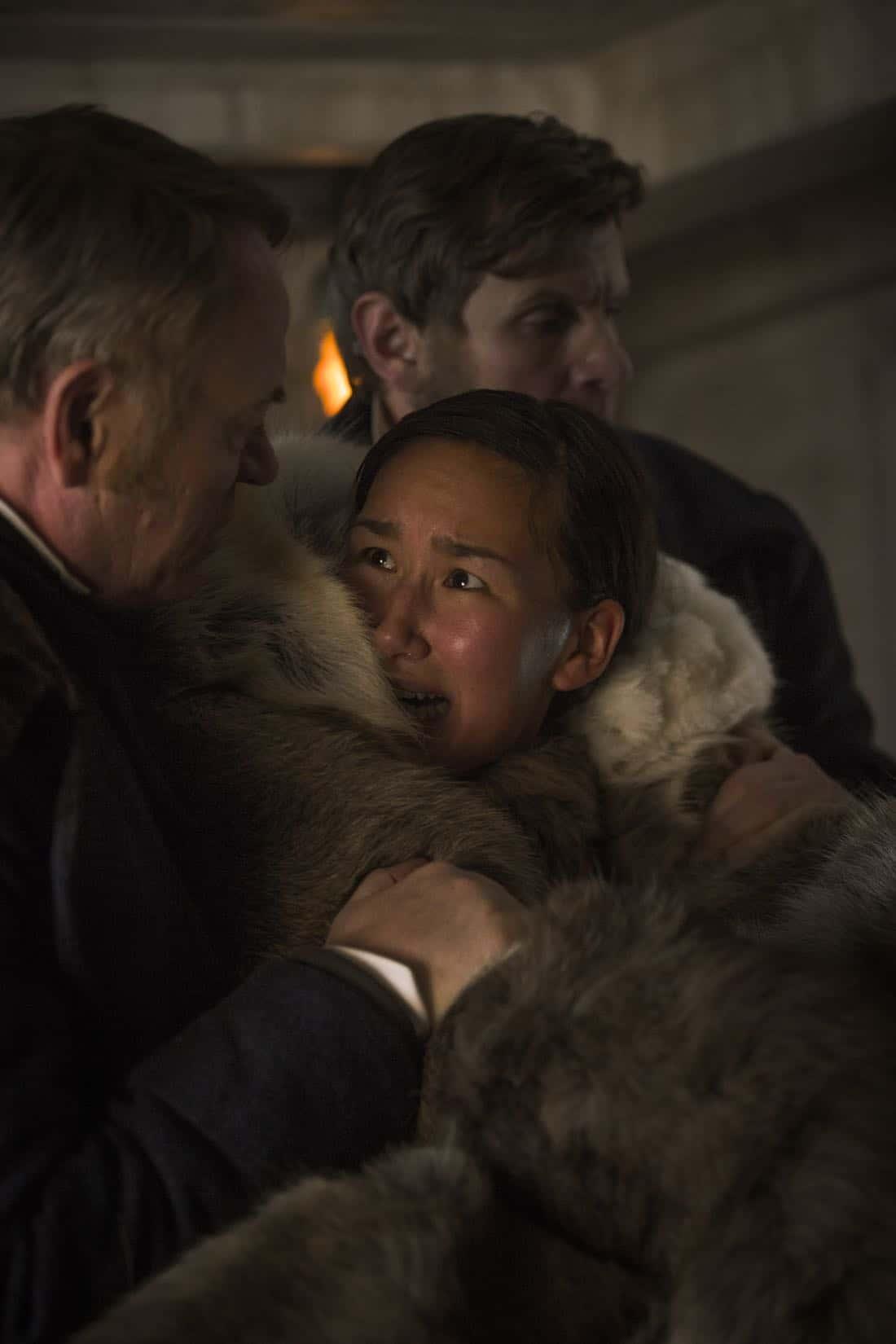 Jared Harris as Francis Crozier, Nive Nielsen as Lady Silence - The Terror _ Season 1, Episode 2 - Photo Credit: Aidan Monaghan/AMC