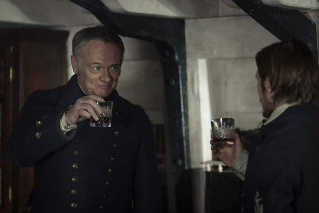 Jared Harris as Francis Crozier, Adam Nagaitis as Cornelius Hickey - The Terror _ Season 1, Episode 2 - Photo Credit: Aidan Monaghan/AMC