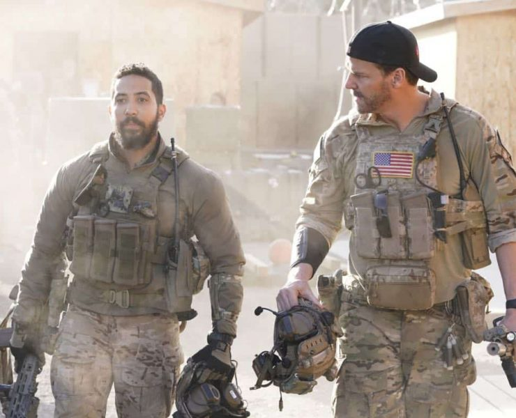 """In Name Only"" - As Jason and the SEAL Team come closer to avenging the loss of Echo Team, Mandy takes matters into her own hands after her boss wonÕt green-light her mission to take out their biggest target. Also, Jason is unsure of where his relationship with Amy stands, on SEAL TEAM, Wednesday, March 28 (9:01-10:00 PM, ET/PT) on the CBS Television Network. Pictured L to R: Neil Brown Jr. as Ray Perry and David Boreanaz as Jason Hayes. Photo: Erik Voake/CBS ©2018 CBS Broadcasting, Inc. All Rights Reserved"