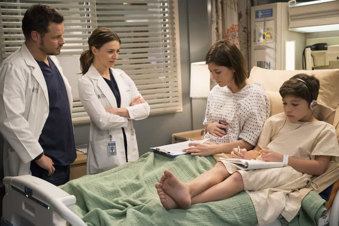 "GREY'S ANATOMY - ""Hold Back the River"" - Amelia, Koracick and DeLuca perform a risky, groundbreaking procedure using ultrasound waves to remove a young patient's brain tumor. Meanwhile, Meredith and Jo work with different polymers to try to salvage their project submission; and Richard's AA sponsor is admitted to Grey Sloan with a DNR, on ""Grey's Anatomy,"" THURSDAY, APRIL 5 (8:00-9:00 p.m. EDT), on The ABC Television Network. (ABC/Mitch Haaseth) JUSTIN CHAMBERS, CATERINA SCORSONE, CAITLIN MCGEE, STEELE GAGNON"