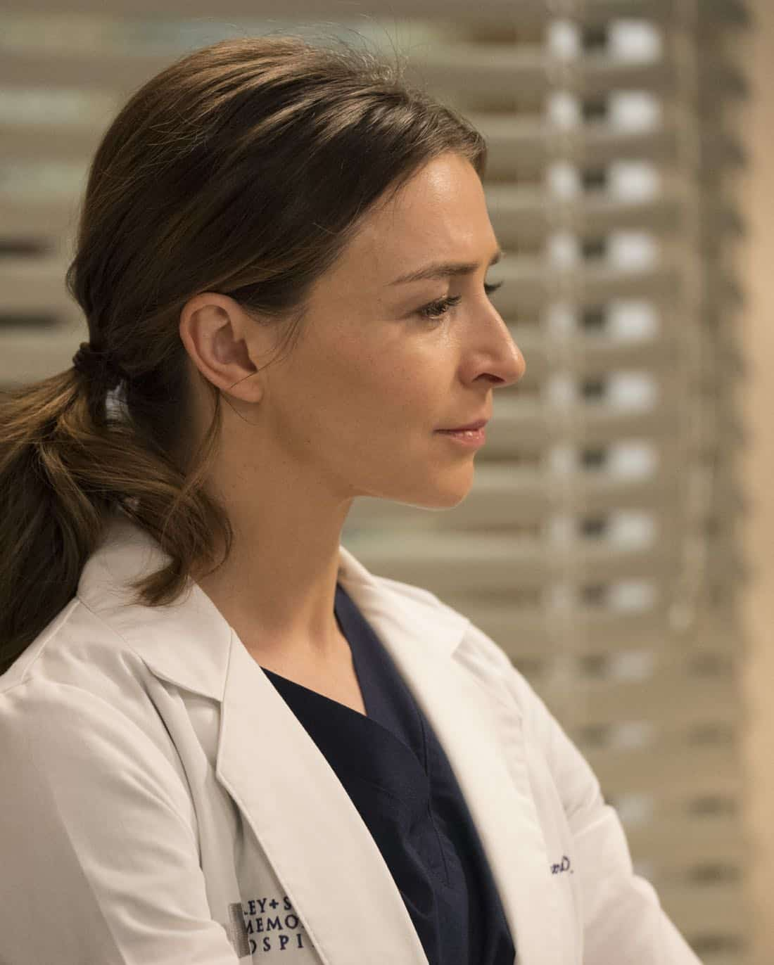 "GREY'S ANATOMY - ""Hold Back the River"" - Amelia, Koracick and DeLuca perform a risky, groundbreaking procedure using ultrasound waves to remove a young patient's brain tumor. Meanwhile, Meredith and Jo work with different polymers to try to salvage their project submission; and Richard's AA sponsor is admitted to Grey Sloan with a DNR, on ""Grey's Anatomy,"" THURSDAY, APRIL 5 (8:00-9:00 p.m. EDT), on The ABC Television Network. (ABC/Mitch Haaseth) CATERINA SCORSONE"