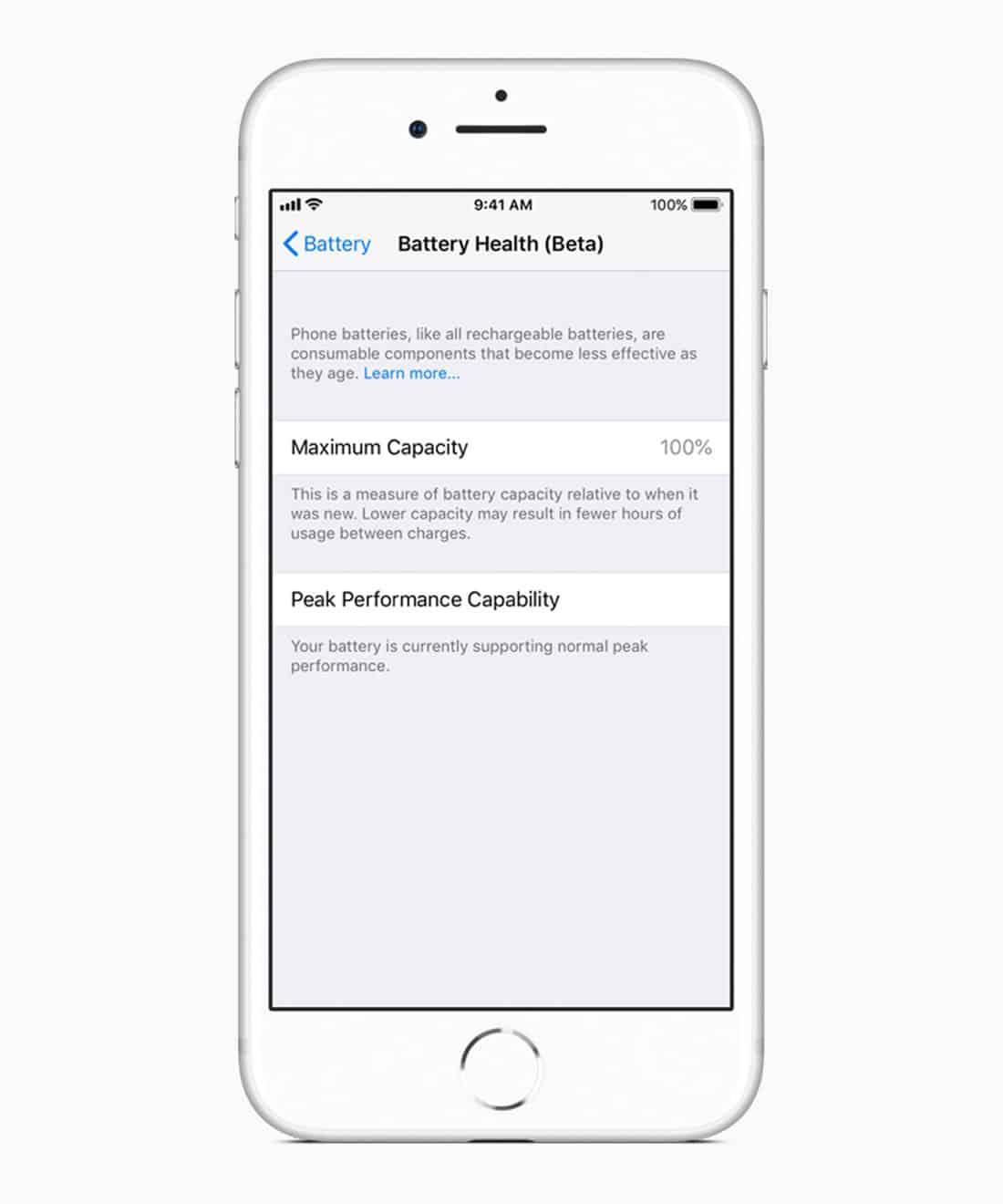 Apple iOS 11.3 battery health screen 03292018