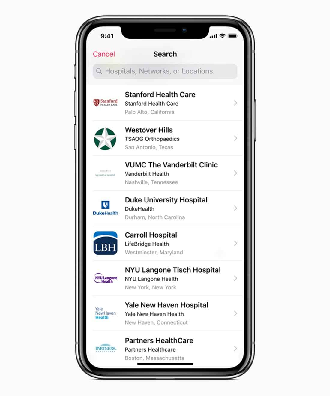 iOS 11.3 health providers search screen 03292018
