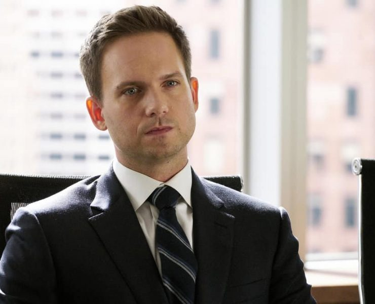 """SUITS -- """"Bad Man"""" Episode 712 -- Pictured: Patrick J. Adams as Mike Ross -- (Photo by: Ian Watson/USA Network)"""