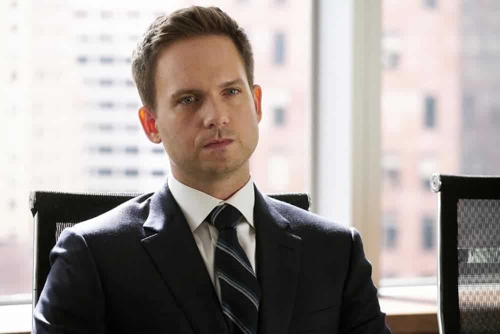 "SUITS -- ""Bad Man"" Episode 712 -- Pictured: Patrick J. Adams as Mike Ross -- (Photo by: Ian Watson/USA Network)"
