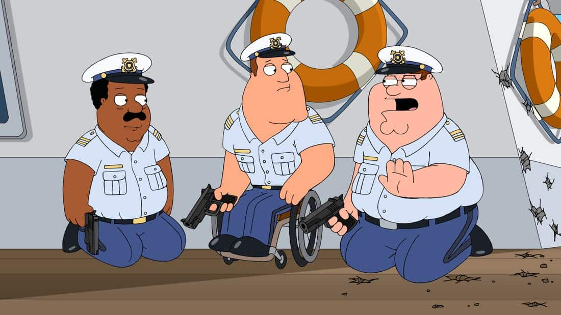 "FAMILY GUY: Peter and the guys are sentenced to join the U.S. Coast Guard in the ""Veteran Guy"" episode of FAMILY GUY airing Sunday, Apr. 1 (9:00-9:30 PM ET/PT) on FOX. FAMILY GUY ™ and © 2018 TCFFC ALL RIGHTS RESERVED. CR: FOX"