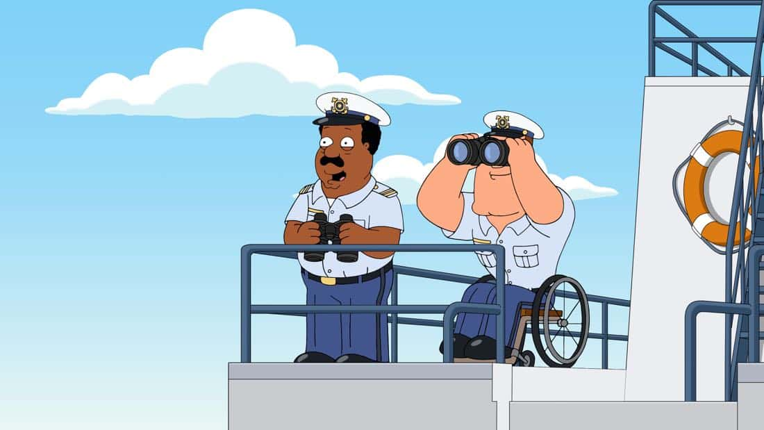 "AMILY GUY: Peter and the guys are sentenced to join the U.S. Coast Guard in the ""Veteran Guy"" episode of FAMILY GUY airing Sunday, Apr. 1 (9:00-9:30 PM ET/PT) on FOX. FAMILY GUY ™ and © 2018 TCFFC ALL RIGHTS RESERVED. CR: FOX"