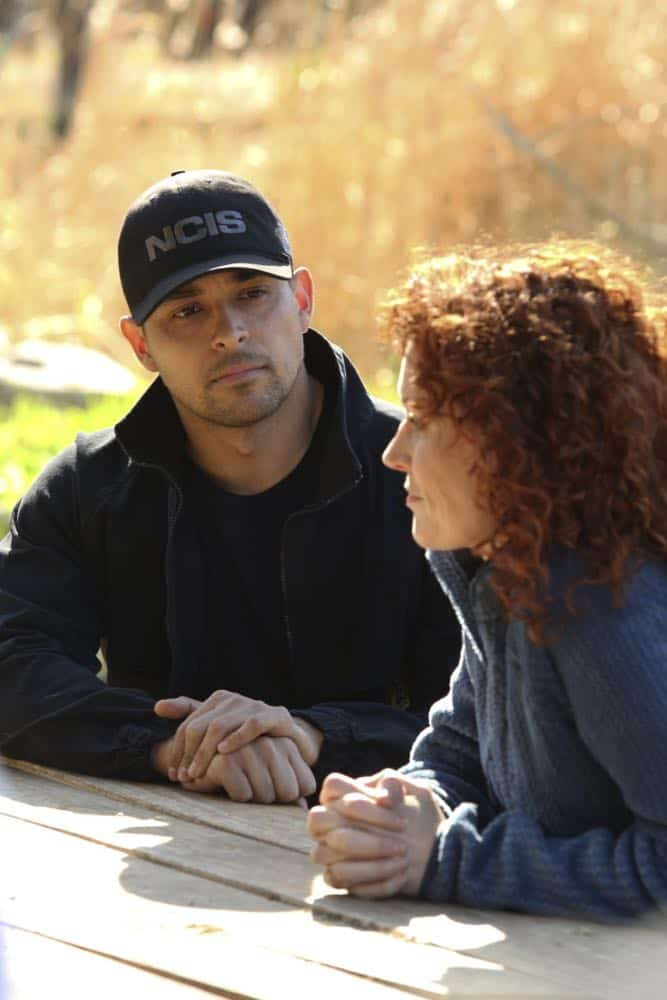 """""""Sight Unseen"""" -- NCIS searches for a petty officer suspected of assault who escapes when the sheriff transporting him crashes into a lake. Also, Torres works closely with Annie Barth (Marilee Talkington), a key blind witness who heard vital evidence needed to solve the case, on the milestone 350th episode of NCIS, Tuesday, April 17 (8:00-9:00 PM, ET/PT) on the CBS Television Network.  Pictured: Wilmer Valderrama, Marilee Talkington.  Photo: Patrick McElhenney/CBS ©2018 CBS Broadcasting, Inc. All Rights Reserved"""
