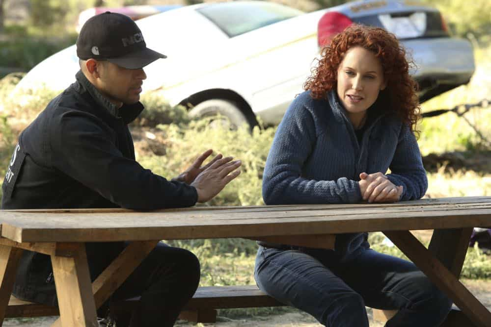 """Sight Unseen"" -- NCIS searches for a petty officer suspected of assault who escapes when the sheriff transporting him crashes into a lake. Also, Torres works closely with Annie Barth (Marilee Talkington), a key blind witness who heard vital evidence needed to solve the case, on the milestone 350th episode of NCIS, Tuesday, April 17 (8:00-9:00 PM, ET/PT) on the CBS Television Network. Pictured: Wilmer Valderrama, Marilee Talkington. Photo: Patrick McElhenney/CBS ©2018 CBS Broadcasting, Inc. All Rights Reserved"