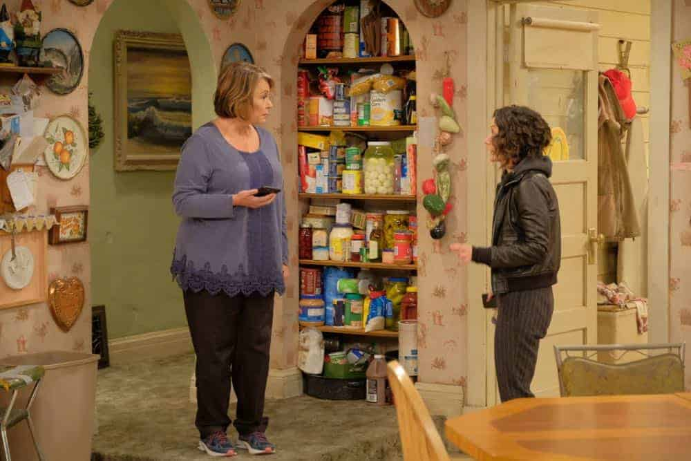 "ROSEANNE - ""Eggs Over, Not Easy"" - A crucial moment for Becky's surrogacy arrangement forces her and Darlene to critically assess each other's lives. Meanwhile, an animal rescue organization rejects Jackie's application to adopt a puppy; and Roseanne makes a plan to change their mind, on the fourth episode of the revival of ""Roseanne,"" TUESDAY, APRIL 10 (8:00-8:30 p.m. EDT), on The ABC Television Network. (ABC/Adam Rose)<br />"