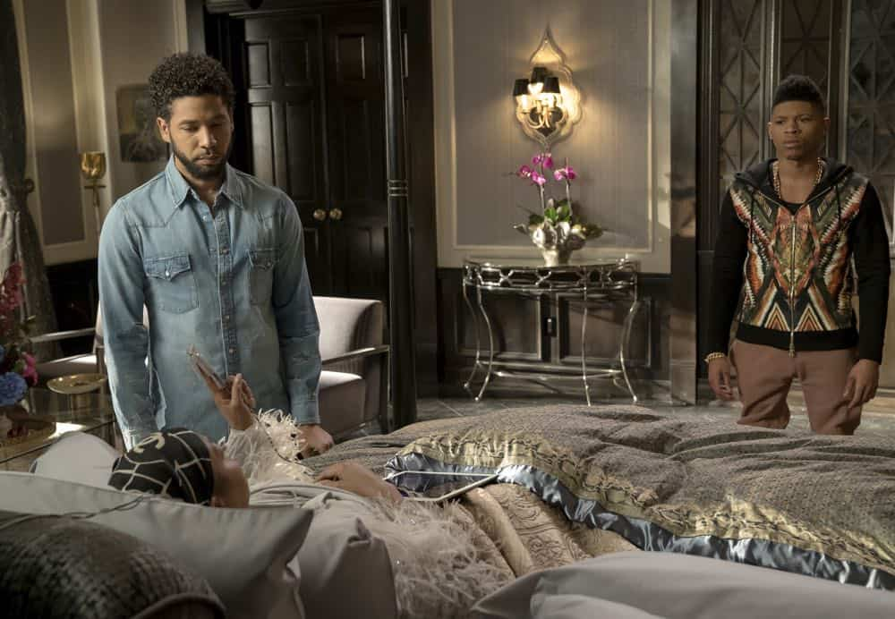 "EMPIRE: L-R: Taraji P. Henson, Jussie Smollett and Bryshere Gray in the ""Sweet Sorrow"" episode of EMPIRE airing Wednesday, April 11 (8:00-9:00 PM ET/PT) on FOX. CR: Fox Broadcasting Co. CR: Chuck Hodes"