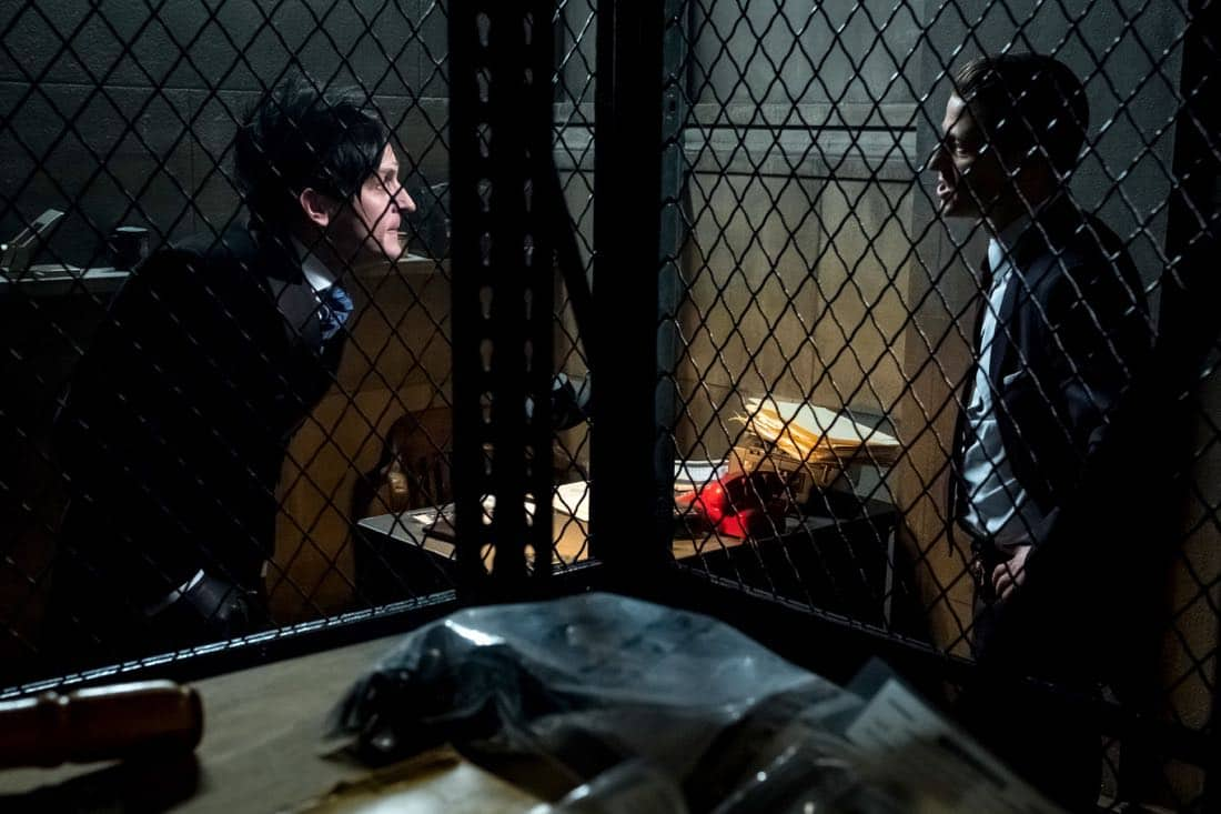 "GOTHAM: L-R: Robin Lord Taylor and Ben McKenzie in the ""A Dark Knight: That's Entertainment"" episode of GOTHAM airing Thursday, April 12 (8:00-9:00 PM ET/PT) on FOX.  ©2018 Fox Broadcasting Co. Cr: FOX"