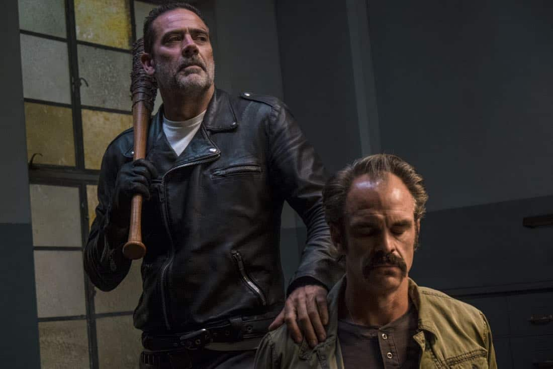 Jeffrey Dean Morgan as Negan, Steven Ogg as Simon - The Walking Dead _ Season 8, Episode 15 - Photo Credit: Gene Page/AMC
