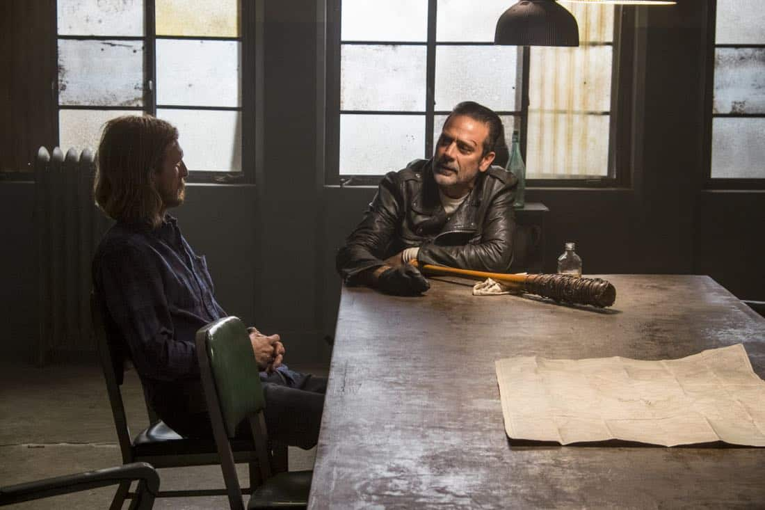 Austin Amelio as Dwight, Jeffrey Dean Morgan as Negan - The Walking Dead _ Season 8, Episode 15 - Photo Credit: Gene Page/AMC