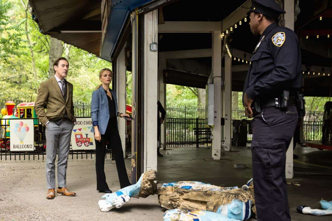 """I Heart New York"" -- Dr. Dylan Reinhart and Det. Lizzie Needham are reassigned to a murder case in Central Park when their investigation into a chemical attack on the subway is taken over by an FBI team led by Dylan's estranged father, Roger (John Doman). However, Dylan can't shake the feeling that the cases are related, on INSTINCT, Sunday, April 8 (8:00-9:00, ET/PT) on the CBS Television Network.  Pictured  (L-R)  Alan Cumming as Dr. Dylan Reinhart  and Bojana Novakovic as Det. Lizzie Needham  Photo Francisco Roman/ ©2017 CBS BROADCASTING INC. ALL RIGHTS RESERVED."