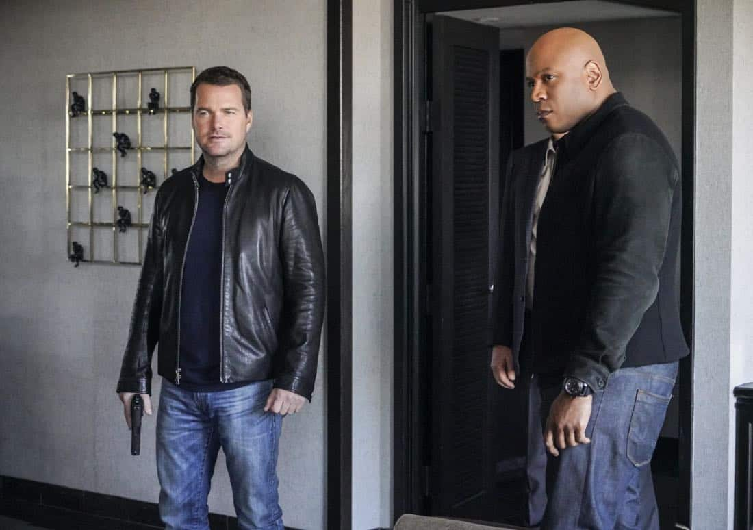 """Vendetta"" - Pictured: Chris O'Donnell (Special Agent G. Callen) and LL COOL J (Special Agent Sam Hanna). Callen and Sam join forces with Anna Kolcheck (Bar Paly) and the Bureau of Alcohol, Tobacco and Firearms (ATF), when Arkady Kolcheck (Vyto Ruginis) warns NCIS that a notorious international weapons dealer has returned to the states. Also, the case requires Eric to go undercover as a bank IT technician, on NCIS: LOS ANGELES, Sunday, April 8 (9:00-10:00 PM, ET/PT) on the CBS Television Network. Photo: Bill Inoshita/CBS ©2018 CBS Broadcasting, Inc. All Rights Reserved."