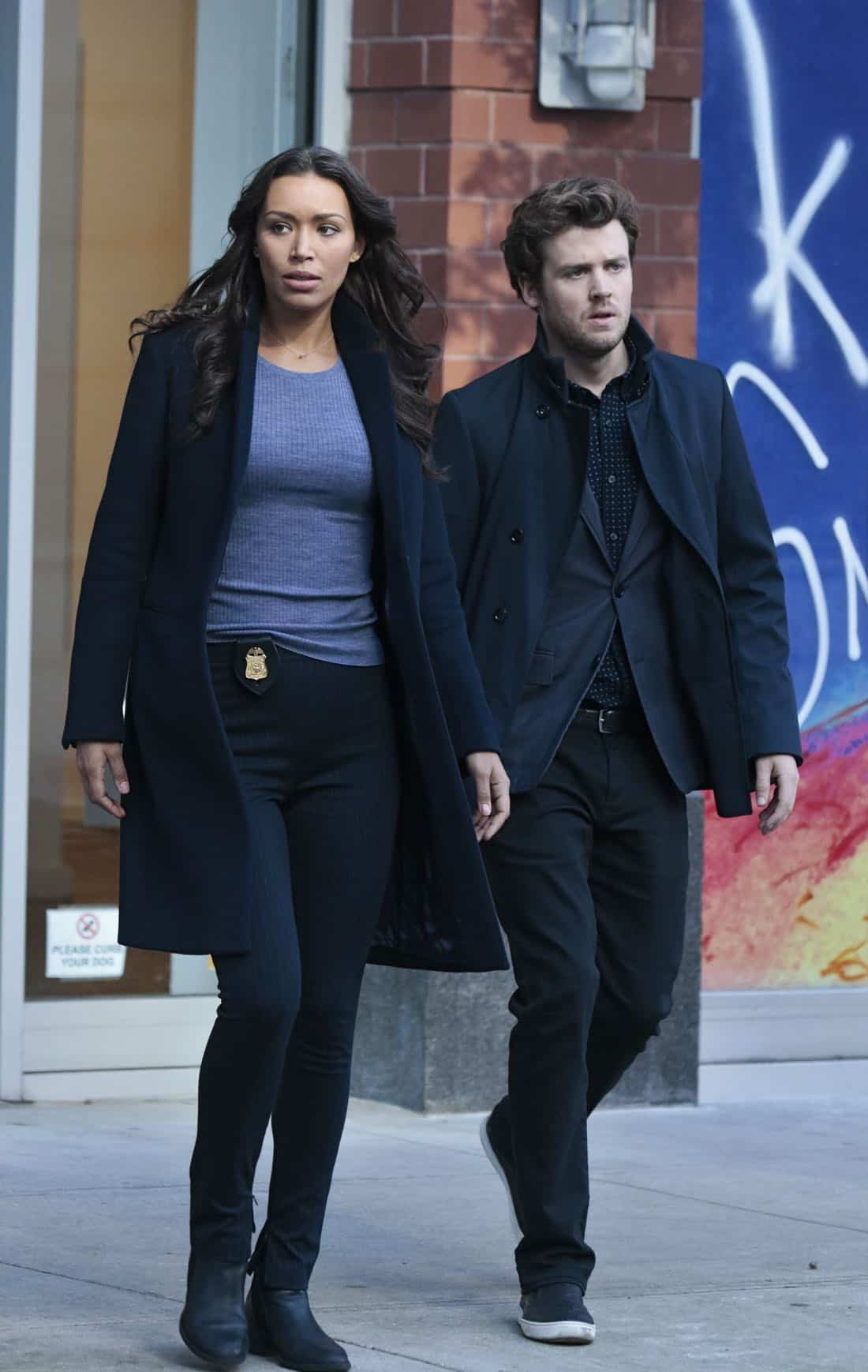 "DECEPTION - ""Masking"" - When a church's stained glass window is stolen while a famous - yet elusive - street artist is painting a mural nearby, Cam and the team's investigation leads them to the criminal - and an unlikely accomplice - on ABC's ""Deception,"" airing SUNDAY, APRIL 8 (10:01-11:00 p.m. EDT), on The ABC Television Network. (ABC/Giovanni Rufino) ILFENESH HADERA, JACK CUTMORE-SCOTT"