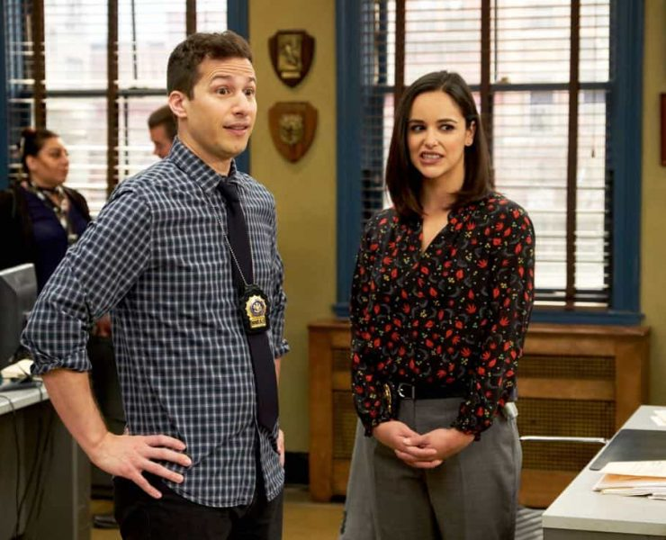 "BROOKLYN NINE-NINE: L-R: Andy Samberg and Melissa Fumero in the ""The Puzzle Master"" episode of BROOKLYN NINE-NINE airing Sunday, April 8 (8:30-9:00 PM ET/PT) on FOX. CR: FOX"