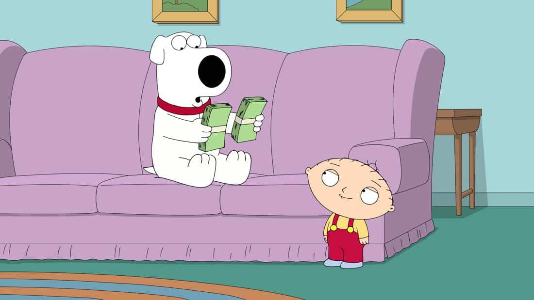 """FAMILY GUY: Brian convinces Stewie to teach him how to invest in the stock market in the """"The Woof of Wall Street"""" episode of FAMILY GUY airing Sunday, Apr. 8 (9:00-9:30 PM ET/PT) on FOX. FAMILY GUY ™ and © 2018 TCFFC ALL RIGHTS RESERVED. CR: FOX"""